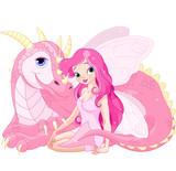 Fototapety Beautiful Magic Dragon and Fairy