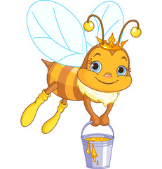 Bee holding a honey bucket