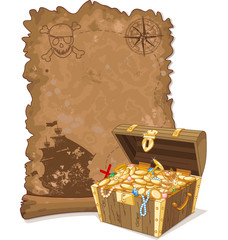 Pirate Map and Chest