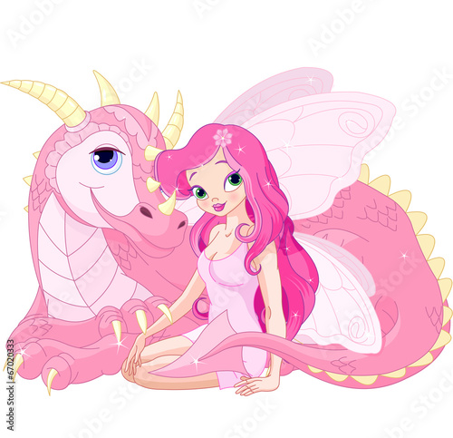 Beautiful Magic Dragon and Fairy