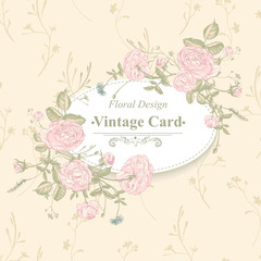 Vector floral greeting card with blossom roses
