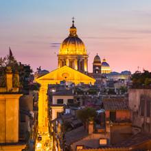 Cityscape de Rome, en Italie au coucher du soleil.