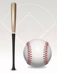 Baseball Bat, Ball, Field Elements