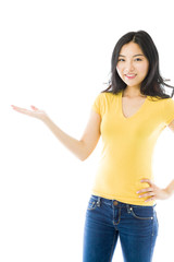Young Asian woman showing product with open hand palm