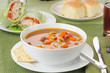 Vegetable soup with turkey wraps