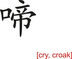 Chinese Sign for cry, croak
