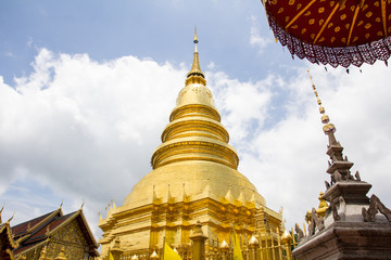 The Golden   Pagoda in Temple , Chiang Mai Province, Thailand.