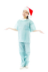 Asian female surgeon wearing Santa hat and showing something