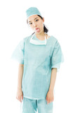 Asian female surgeon poking out tongue towards camera isolated poster