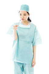 Angry Asian female surgeon scolding someone isolated on white