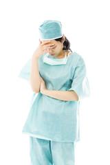 Asian female surgeon hiding her face