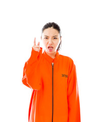 Young Asian woman scolding somebody in prisoners uniform