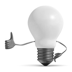 White light bulb character giving thumb up isolated