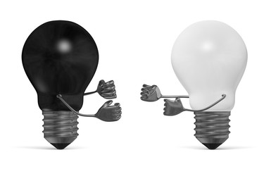 Black and white light bulbs fighting with fists isolated