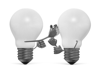 White light bulbs fighting with fists isolated