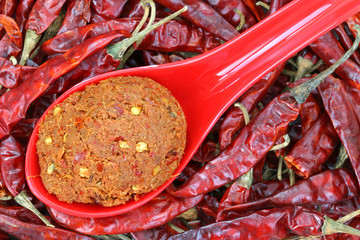 Thai Curry Paste to make spicy curries on dried chilies