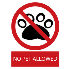 No pet allowed label