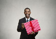 Happy, surprised man receiving gift from someone