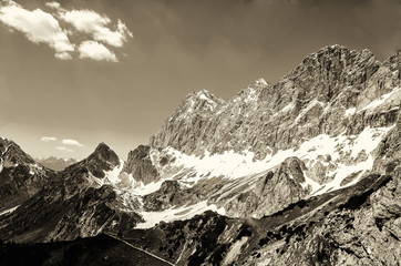 Dachstein Region of Alps (Black & White)