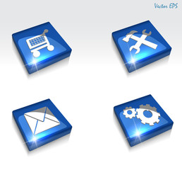 3d glossy mail tools cart gears web icon set