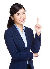 Business woman with finger point out