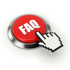 Red round faq button with metallic border
