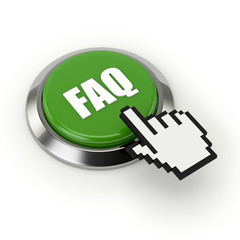 Green round faq button with metallic border