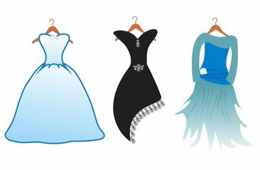 trzy sukienki,
