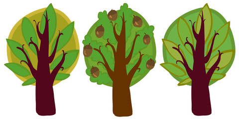 The illustration of three cartoon trees.