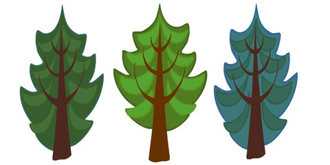 The illustration of three spruce cartoon trees.