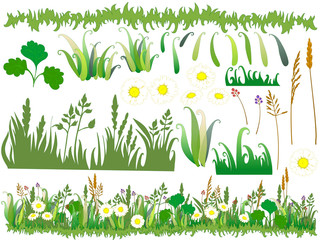 Cartoon grass and flowers with separated parts of the drawing.