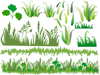 Cartoon grass with separated parts of the drawing.