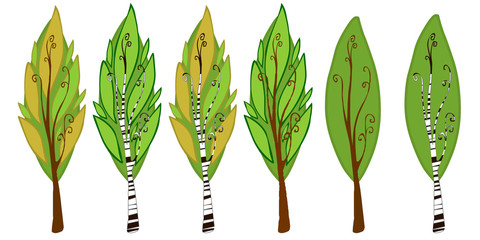 The illustration of six cartoon trees