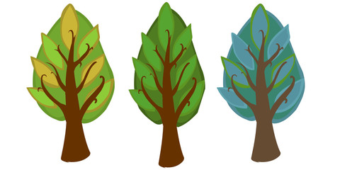 The illustration of three cartoon trees on a white background.
