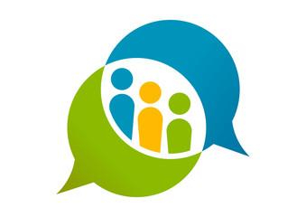 Social Team  logo design. speech bubble Internet community group