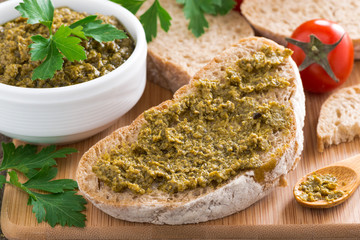 Italian appetizer - ciabatta with pesto
