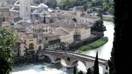 Timelapse at Roman Bridge called Ponte di Pietra, Verona, Italy