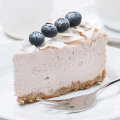 piece of blueberry and coconut cheesecake