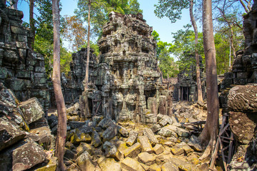 Ancient Ta Prohm temple at Angkor Wat complex, Siem Reap, Cambod