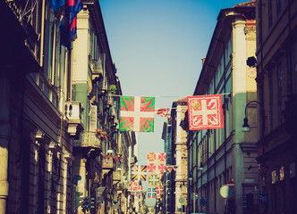 Retro look Turin flags