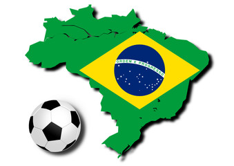 football With Flag of Brazil.- vector file