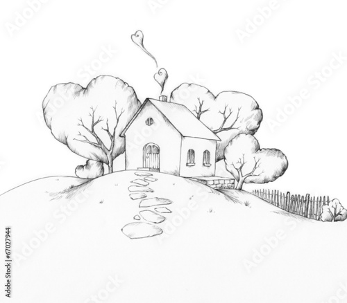 Haus auf Hügel