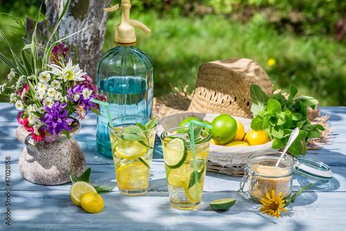 Fresh lemonade in the summer garden - 67028158