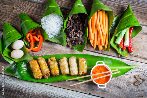 Spring rolls and sweet and sour sauce - 67028704