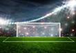 Leinwanddruck Bild - Soccer ball on green stadium arena