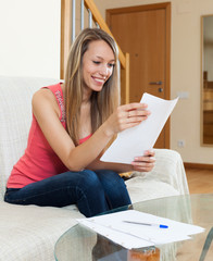 Girl working with documents