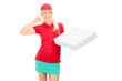 Delivery girl making a call sign and holding pizza boxes
