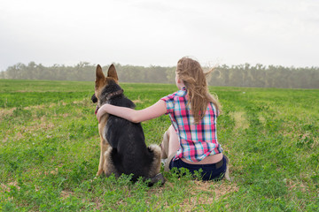 girl with a German Shepherd