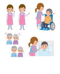 介護士と高齢者