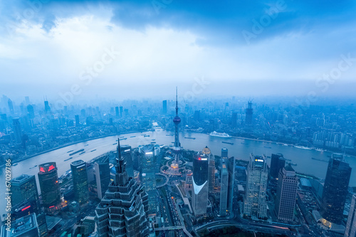 shanghai at dusk with cloudy sky